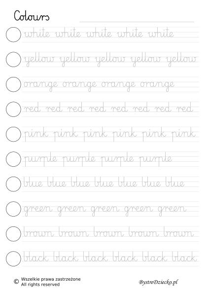 Angielski dla dzieci, nauka angielskiego w domu - kolory - Colours