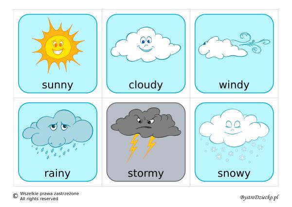 Angielski dla dzieci, fiszki angielskie - pogoda - Weather flashcards