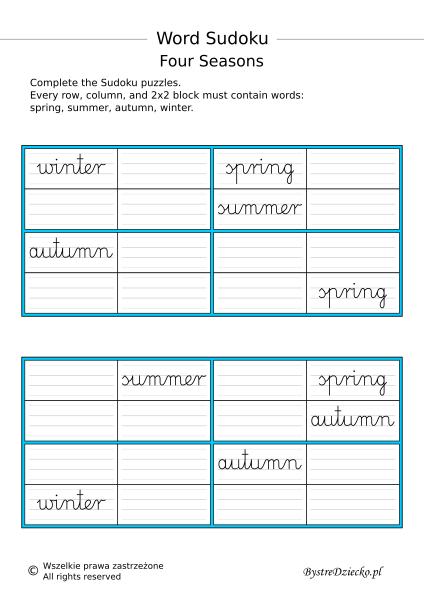 Angielski dla dzieci, karty pracy do nauki angielskiego w domu - Four seasons on worksheets - Word Sudoku