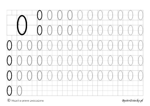 0 - nauka pisania cyferek dla dzieci, duża czcionka, Anna Kubczak
