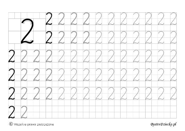 2 - nauka pisania cyferek dla dzieci, duża czcionka, Anna Kubczak