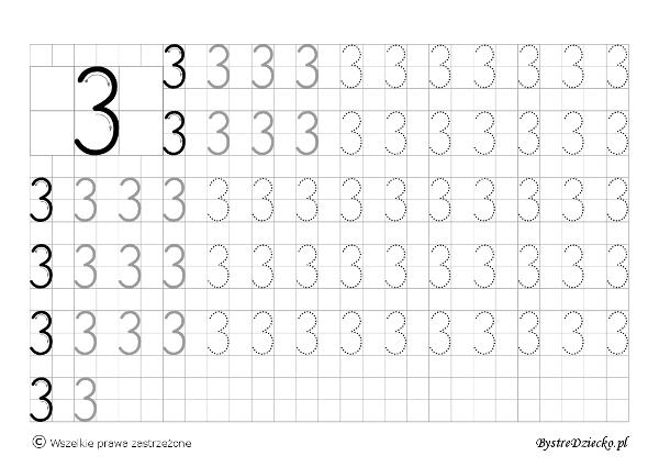 Cyferki dla dzieci - szablon do nauki pisania 3 - matematyka