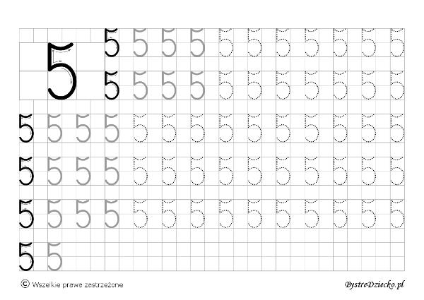5 - nauka pisania cyferek dla dzieci, duża czcionka, Anna Kubczak