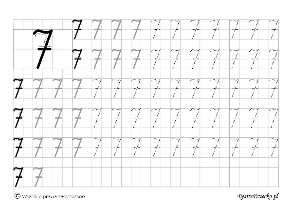 7 - nauka pisania cyferek dla dzieci, duża czcionka, Anna Kubczak