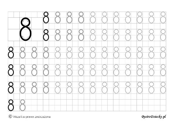 8 - nauka pisania cyferek dla dzieci, duża czcionka, Anna Kubczak
