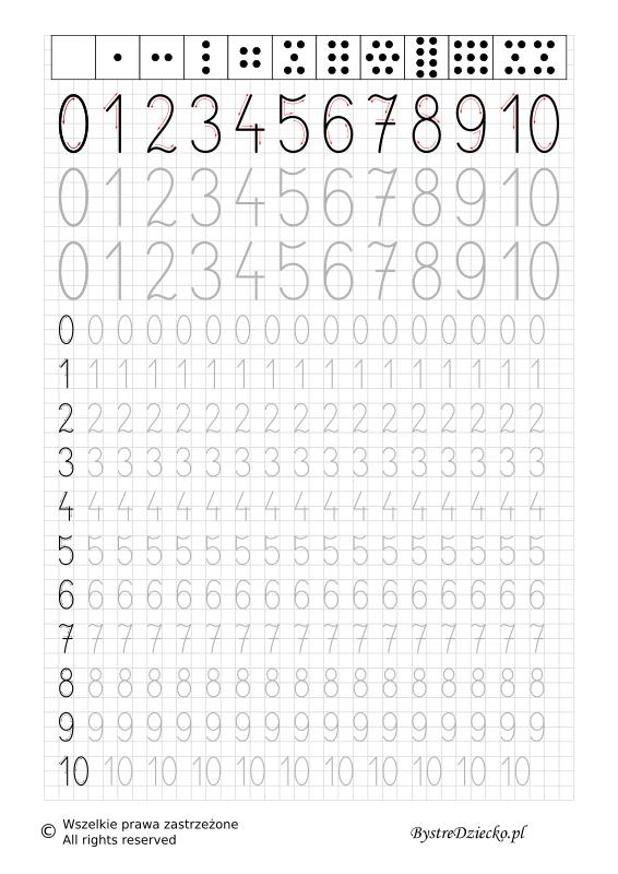 Nauka pisania cyferek dla dzieci - matematyka - pisanie po śladzie w zakresie od 0 do 10