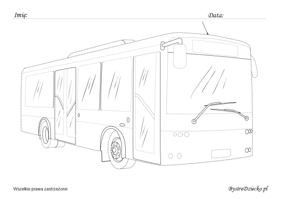 Bus picture tracing worksheets for kids
