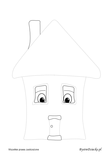 Small house picture tracing worksheets for kids