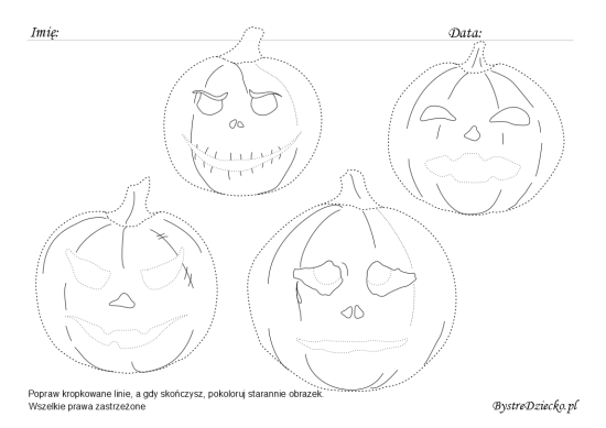 Halloween pumpkins picture tracing worksheets for kids