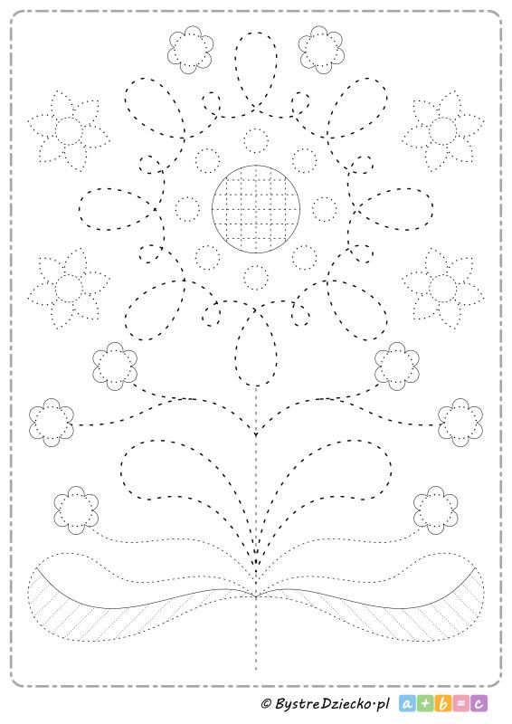 Folkowe kwiaty na wiosnę - rysowanie po śladzie to świetny sposób na ćwiczenia grafomotoryczne dla dzieci