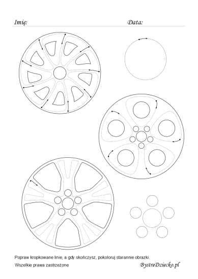 Car wheel caps lines tracing worksheets for kids