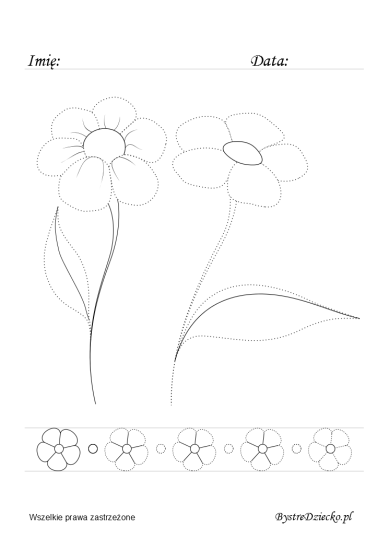 Flowers picture tracing worksheets for kids