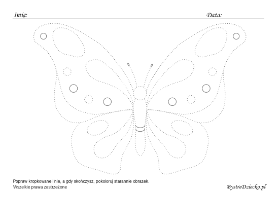 Butterfly picture tracing worksheets for kids
