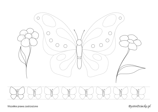 Butterfly and flowers picture tracing worksheets for kids
