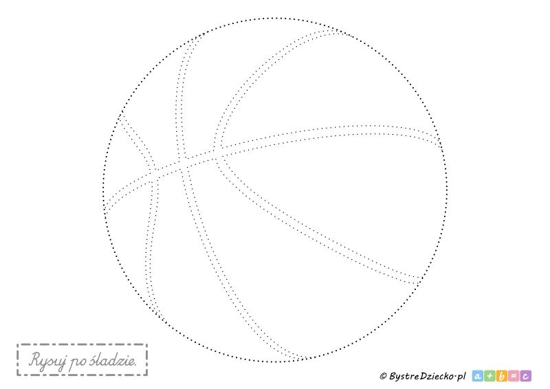 Piłka do kosza, koszykówki - rysowanie po śladzie to świetny sposób na ćwiczenia grafomotoryczne dla najmłodszych dzieci