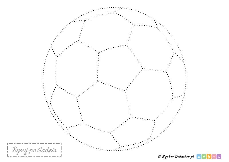 Piłka nożna, piłka do piłki nożnej - rysowanie po śladzie to świetny sposób na ćwiczenia grafomotoryczne dla najmłodszych dzieci