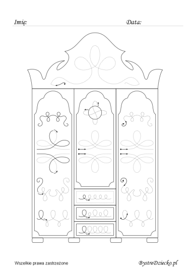 Enchanted wardrobe picture tracing worksheets for kids