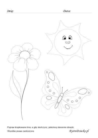 Spring picture tracing worksheets for kids