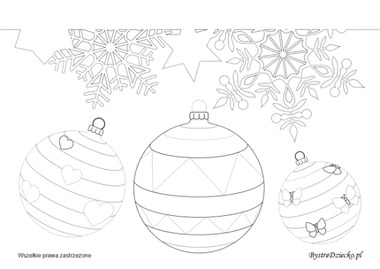 Snowflakes and Christmas ball picture tracing worksheets for kids