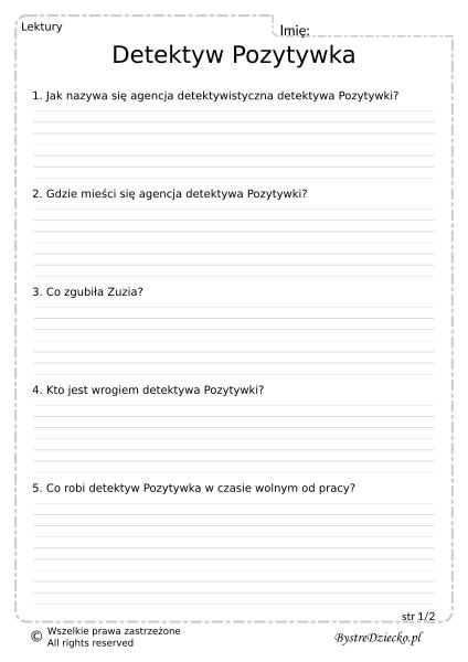 Lektury szkolne test - Detektyw Pozytywka - Grzegorz Kasdepke - karty pracy dla dzieci, arkusze z zadaniami