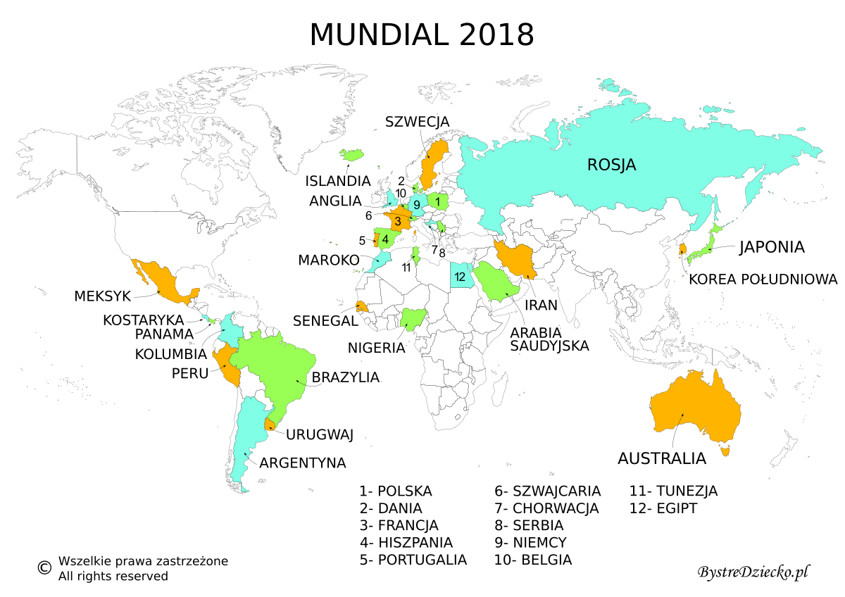 Mapa konturowa świata do wydrukowania - Mundial 2018