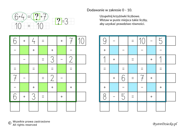 Dodawanie i odejmowanie w zakresie 10 - matematyczne krzyżówki liczbowe dla dzieci