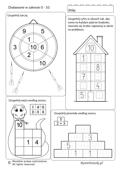 Dodawanie w zakresie 10 - ćwiczenia na dopełnianie do 10