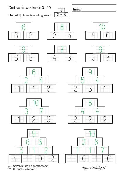 Dodawanie w zakresie 10 - piramida - karty pracy dla dzieci do druku