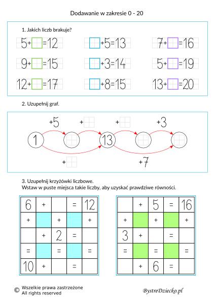Nauka dodawania dla dzieci w zakresie 20 - grafy matematyczne, krzyżówka liczbowa - karty pracy