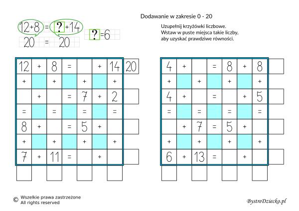 Nauka dodawania dla dzieci w zakresie 20 - krzyżówka liczbowa - karty pracy