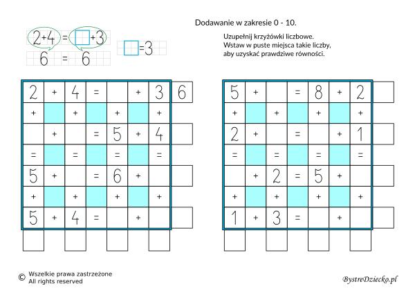 Nauka dodawania dla dzieci w zakresie 10 - krzyżówka liczbowa - karty pracy