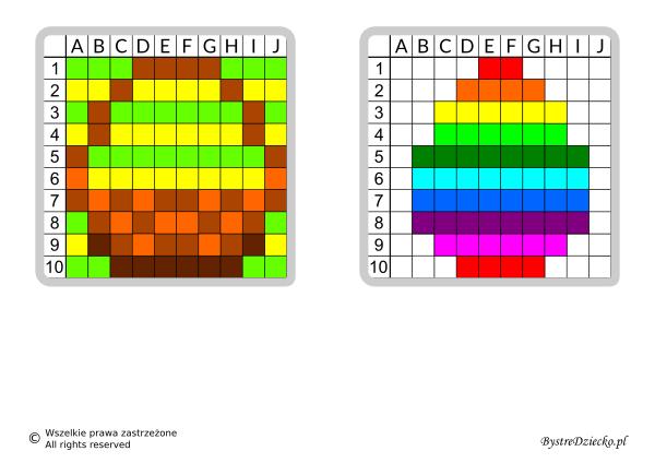 Dyktanda graficzne, nauka kodowania i programowanie dla dzieci - karty pracy do wydruku na Wielkanoc