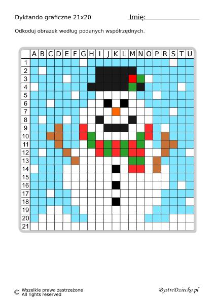 Śnieżny bałwan jako dyktando graficzne, piksele, nauka kodowania i programowanie dla dzieci - karty pracy do wydruku na zimę