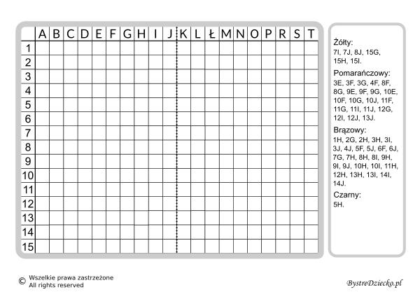 Dyktanda graficzne, nauka kodowania i programowanie dla dzieci - karty pracy do wydruku z ukrytym obrazkiem