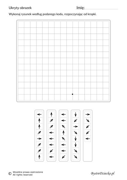 Kurczaczek Wielkanocny jako dyktando graficzne, strzałki, nauka kodowania i programowanie dla dzieci - karty pracy do wydruku