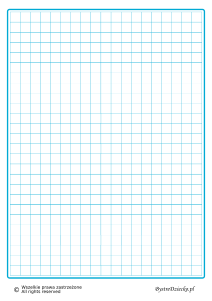 Kartka w kratkę 1 cm do wydrukowania, niebieskie linie, matematyka