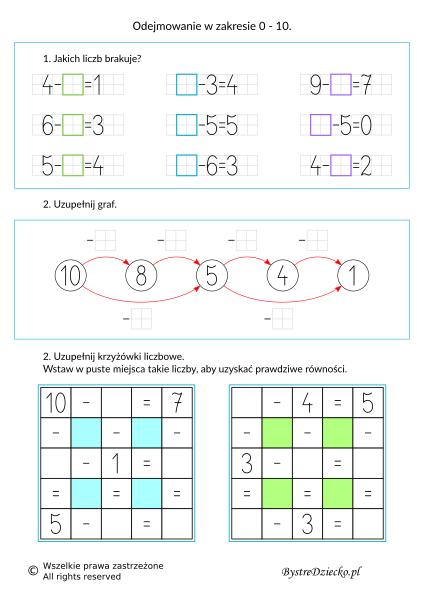 Nauka odejmowania dla dzieci w zakresie 10 - grafy matematyczne, krzyżówka liczbowa - karty pracy