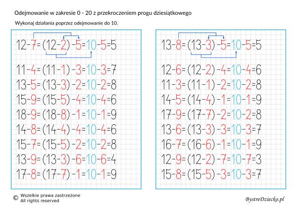 Odejmowanie w zakresie 20 z przekroczeniem progu dziesiątkowego, matematyka dla dzieci
