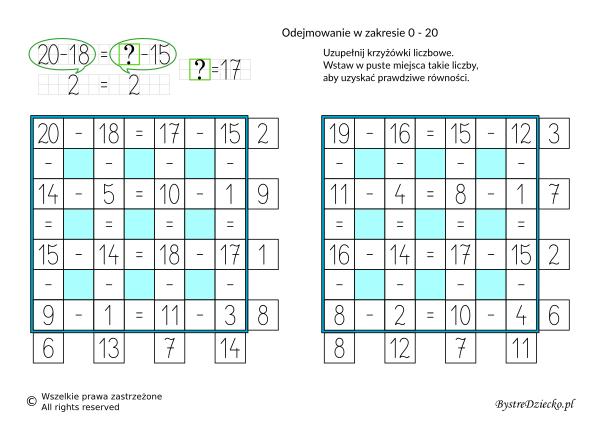 Nauka odejmowania dla dzieci w zakresie 20 - krzyżówka liczbowa - karty pracy