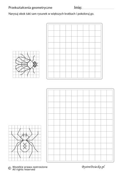 Przerysuj obok obrazek na większych kratkach, matematyka i przekształcenia geometryczne