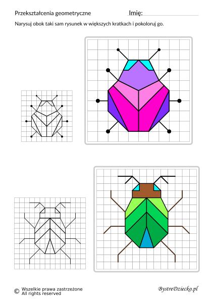 Przerysuj obok obrazek na większych kratkach,matematyka i przekształcenia geometryczne