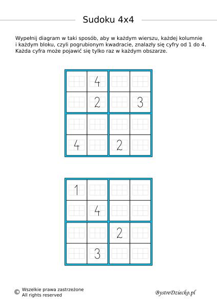 Łatwe sudoku dla dzieci do druku - karty pracy z matematyki