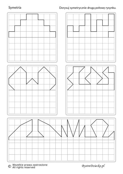 Symetria dla dzieci - dorysuj figury symetryczne w oparciu o oś symetrii