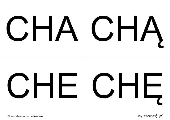 Nauka czytania dla dzieci sylabami - CH (CHA, CHĄ, CHE, CHĘ)