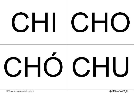 Nauka czytania dla dzieci sylabami - CH (CHI, CHO, CHÓ, CHU)