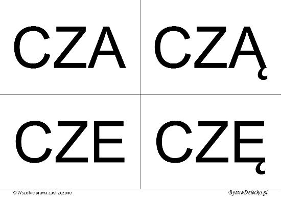 Nauka czytania dla dzieci sylabami - CZ (CZA, CZĄ, CZE, CZĘ)
