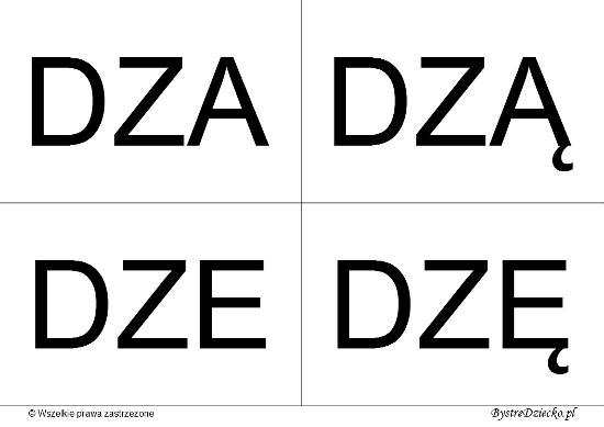 Nauka czytania dla dzieci sylabami - DZ (DZA, DZĄ, DZE, DZĘ)