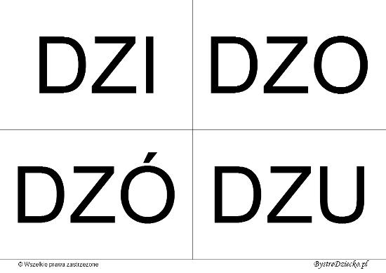 Nauka czytania dla dzieci sylabami - DZ (DZI, DZO, DZÓ, DZU)