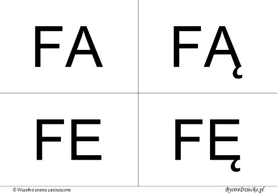 Nauka czytania dla dzieci sylabami - F (FA, FĄ, FE, FĘ)