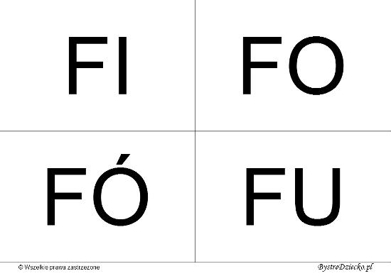 Nauka czytania dla dzieci sylabami - F (FI, FO, FÓ, FU)